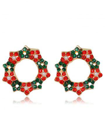 Best Faux Pearl Rhinestone Christmas Wreath Earrings COLORMIX