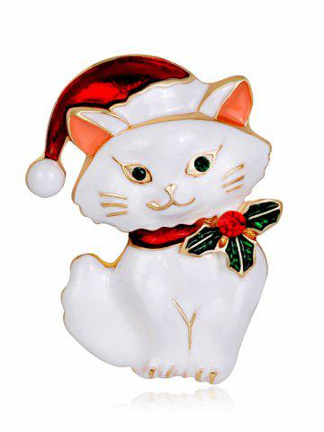 Shop Rhinestone Kitten Christmas Hat Brooch WHITE