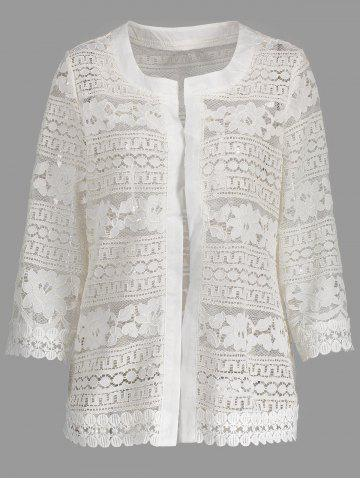 Store Short Plus Size Hollow Out Lace Jacket - 2XL WHITE Mobile
