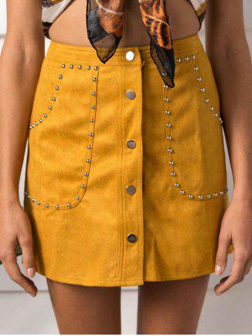 Online Faux Suede Rivet Button Up Skirt - L YELLOW Mobile