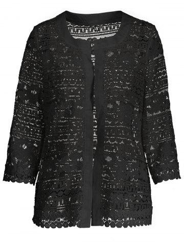 Buy Short Plus Size Hollow Out Lace Jacket BLACK 3XL