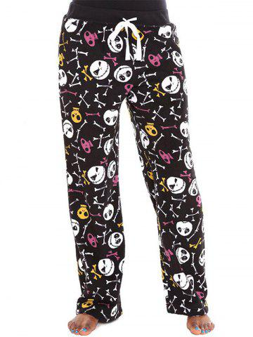 Sale Skulls Print Drawstring Halloween Pants COLORMIX XL
