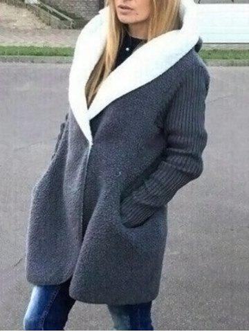 Fashion Two Tone Fuzzy Hooded Coat GRAY ONE SIZE