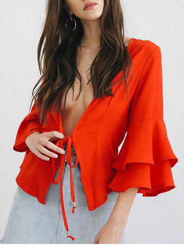 Buy Collarless Flounce Flare Sleeve Blazer