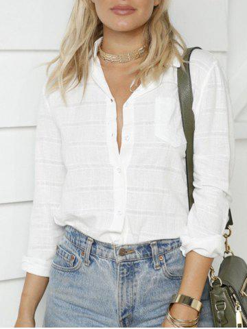 Shop Long Sleeve Button Up Shirt - S WHITE Mobile