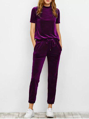 Affordable Velvet T Shirt with Pants - S DEEP PURPLE Mobile