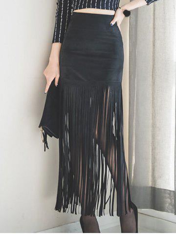 Store Faux Suede Fringed Maxi Skirt BLACK M