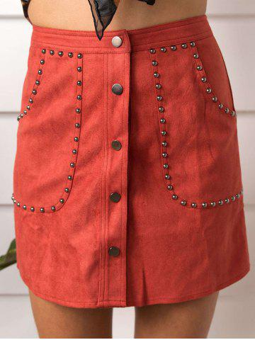 Affordable Faux Suede Rivet Button Up Skirt - M RED Mobile