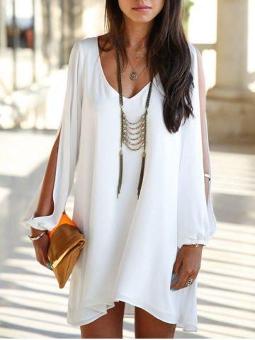Fashion Split Sleeve Chiffon Swing Dress WHITE 2XL