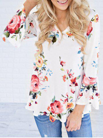 Buy Flare Sleeve Floral Tunic T Shirt WHITE XL