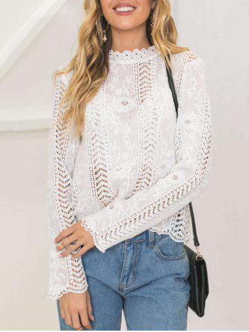 Latest Lace Long Sleeve Openwork Top - S WHITE Mobile