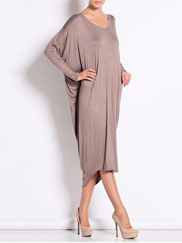 Outfit Backless V Neck Casual Long Sleeve Dress BROWN ONE SIZE