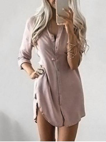 Fashion Button Down Tunic Dress NUDE PINK L