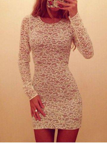 Hot Bodycon Lace Club Dress WHITE S