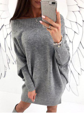 Discount Batwing Sleeve Boat Neck Sweater Dress GRAY M
