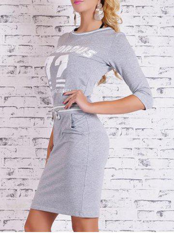 Shop Printed Bodycon Dress with Pocket - L GRAY Mobile