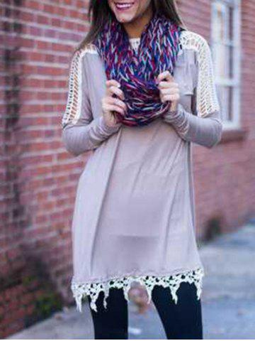 Affordable Tunic T Shirt Dress with Lace - S SMASHING Mobile