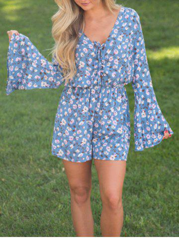 Shop Flare Sleeve Lace Up Floral Romper BLUE XL
