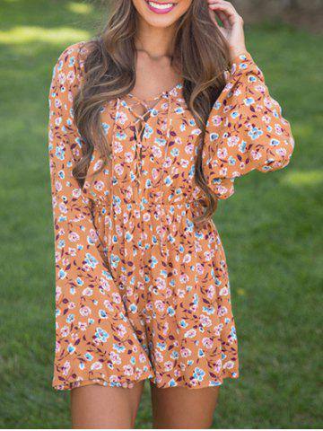 Cheap Flare Sleeve Lace Up Floral Romper - M ORANGE Mobile