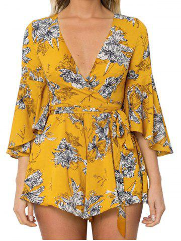 Trendy Flare Sleeve Plunge Neck Floral Romper - S YELLOW Mobile