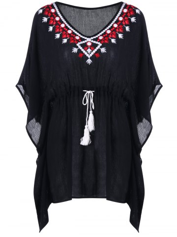 Tassel Drawstring Tribal Robe brodée