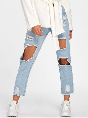 Latest Faded Destroyed Straight Jeans - XL LIGHT BLUE Mobile