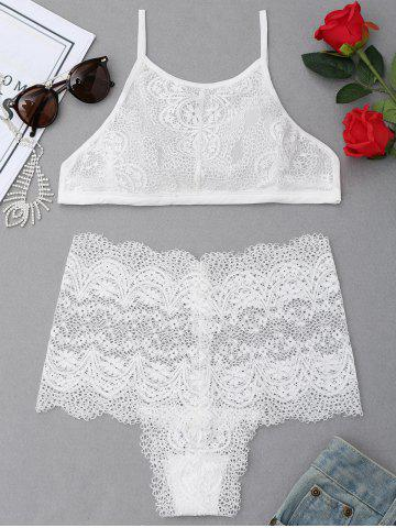 Latest High Neck See Through Lace Bra Set - L WHITE Mobile