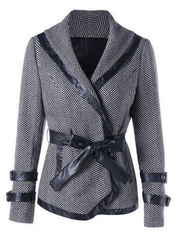 Outfits Shawl Collar Coat with Tie Belt - 2XL BLACK STRIPE Mobile