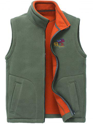 Cheap Zip Up Flag Embroidered Fleece Waistcoat - L ARMY GREEN Mobile