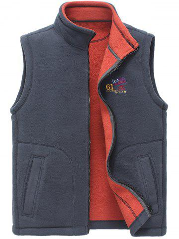 Cheap Zip Up Flag Embroidered Fleece Waistcoat - 2XL GRAY Mobile