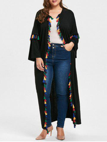 Online Plus Size Tassel Drop Shoulder Cardigan BLACK 2XL