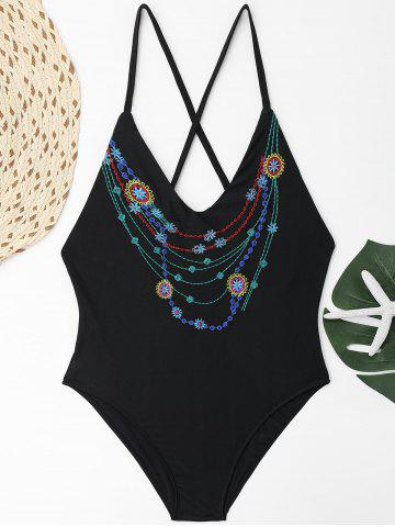 Trendy Cross Back Embroidered Plus Size Swimsuit - XL BLACK Mobile
