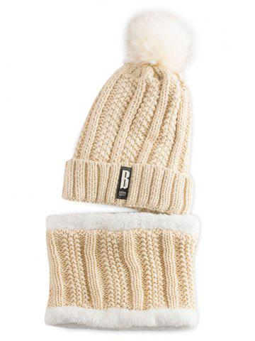 Latest Letter B Label Knitted Pom Hat with Scarf PALOMINO