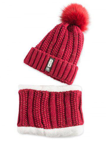 Hot Letter B Label Knitted Pom Hat with Scarf WINE RED
