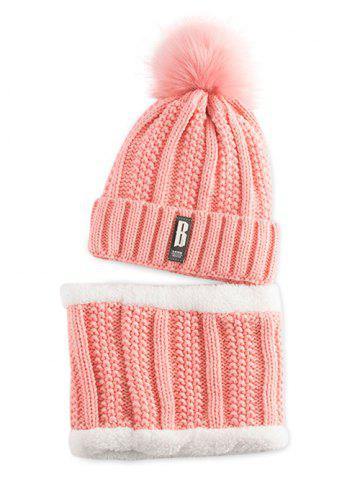 Fashion Letter B Label Knitted Pom Hat with Scarf PAPAYA