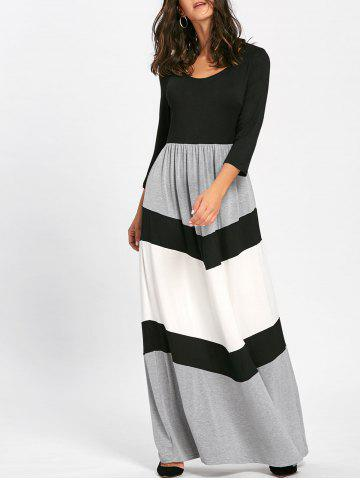 Hot Chevron Stripe Scoop Neck Maxi Dress - 2XL BLACK Mobile