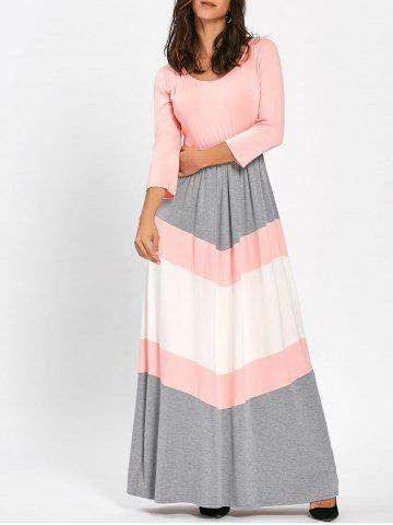 Chevron Stripe Scoop Neck Maxi Dress ROSE PÂLE M