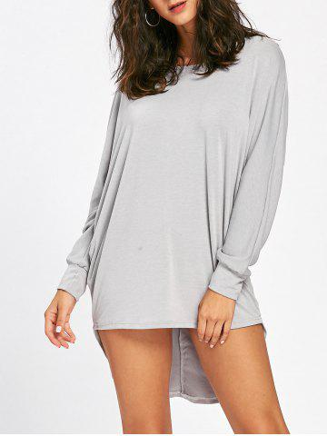 Affordable Tunic High Low T Shirt Dress - XL LIGHT GREY Mobile