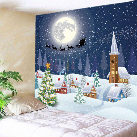Christmas Night Village Print Tapestry Décoration murale suspendue Blanc Largeur 59pouces*Longeur 51pouces
