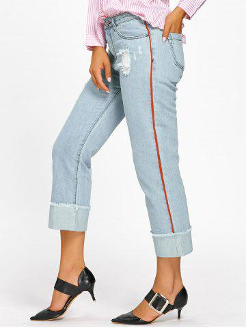 Discount Faded Frayed Cuffed Jeans - L LIGHT BLUE Mobile
