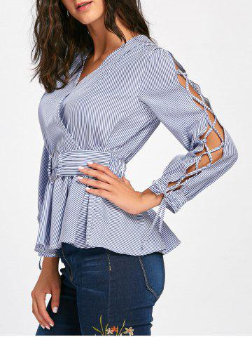 New Striped Lace Up Sleeve Surplice Blouse