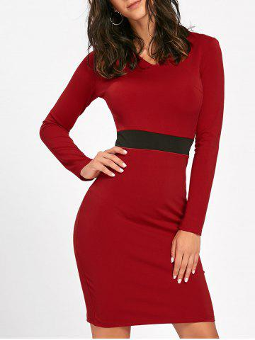 Discount V Neck Two Tone Mini Bodycon Dress RED L