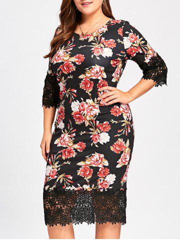 Outfit Midi Floral Sheath Plus Size Dress