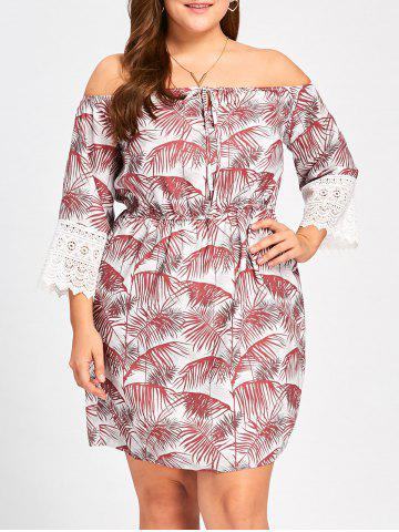 Cheap Plus Size Tropical Off The Shoulder Dress RED XL