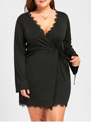 Online Plus Size Long Sleeve Mini Surplice Dress