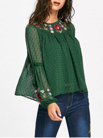 Chic Floral Embroidered Tassel Bell Sleeve Blouse - S GREEN Mobile