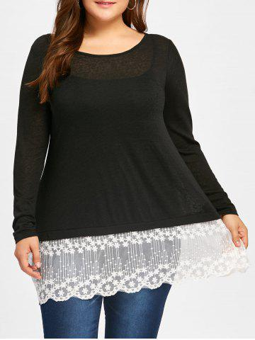 Outfit Plus Size Lace Panel Scolloped Tee with Cami Top - XL BLACK Mobile