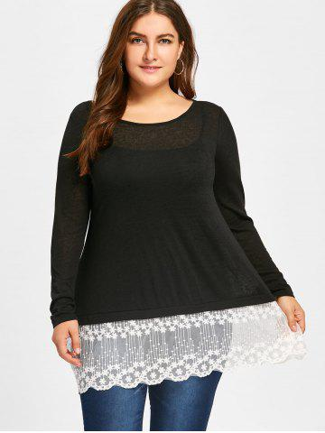 Plus Size Lace Panel Scolloped Tee with Cami Top