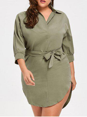 Cheap Bleted Plus Size High Low Shirt Dress