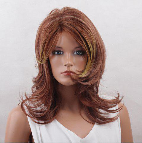 Sale Long Side Bang Colormix Layered Tail Upwards Natural Straight Synthetic Wig COLORMIX